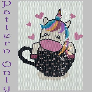 Rainbow Unicorn Coffee Cup 5×7 Kawaii Drawing Art PATTERN ONLY