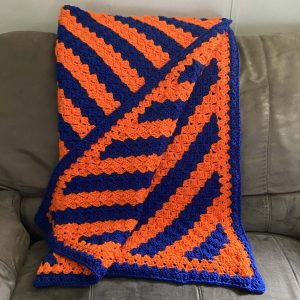 Blue and Orange (Florida Gator) Crochet Blanket
