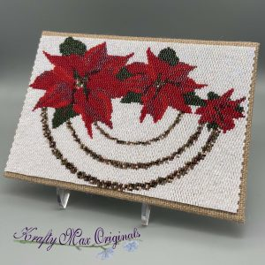 Christmas Flowers Beadwoven 5×7 Wall Art – Sample for September 2020 Kit