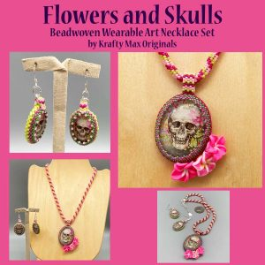 Flowers and Skulls Wearable Art Necklace Set by Krafty Max Originals