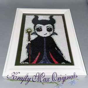 Maleficent Kawaii Inspired Beadwoven 5×7 Artwork by Krafty Max Originals