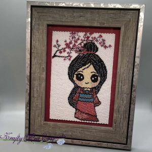 Mulan Kawaii Inspired Beadwoven 5×7 Artwork by Krafty Max Originals