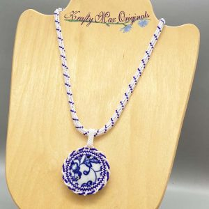Blue and White Ceramic Beadwoven Necklace