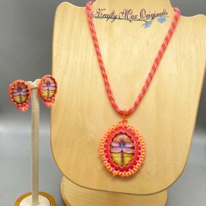 Pink and Orange Beadwoven Dragonfly Necklace Set