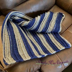 Blue and Grey Baby Blanket by Krafty Max Originals