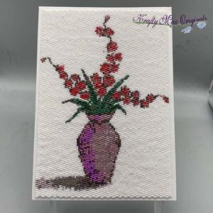 Cherry Blossoms in a Vase Beadwoven 5×7 Artwork by Krafty Max Originals